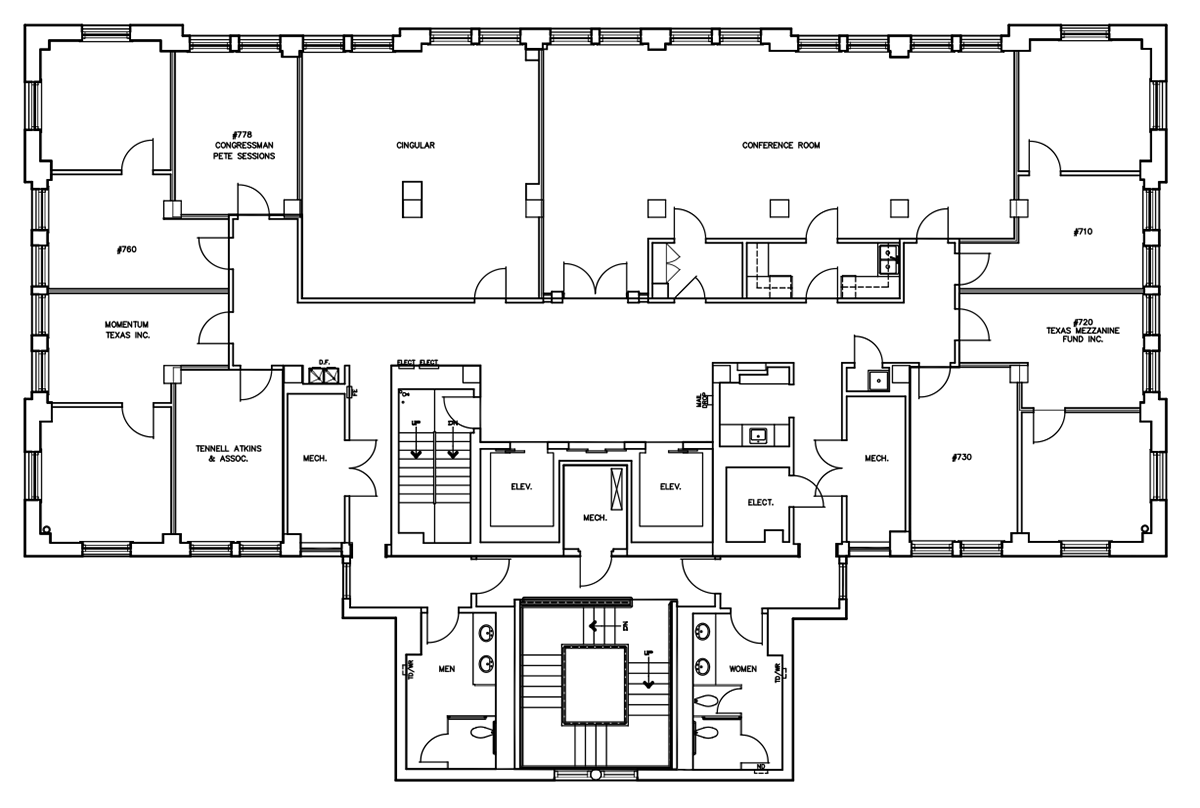 Floorplan six city center executive offices for Office layout plan design